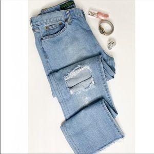 Ralph Lauren high rise distressed straight jeans